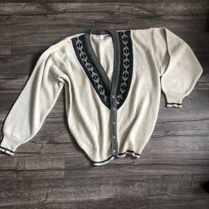 Bachrach Vintage Aztec Collar Cardigan